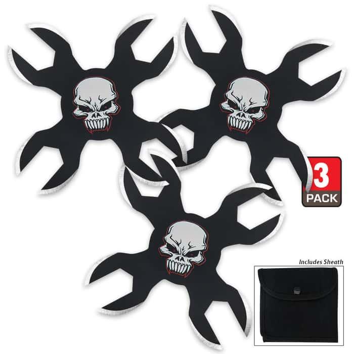Phantom Skull Triple Throwing Star Set