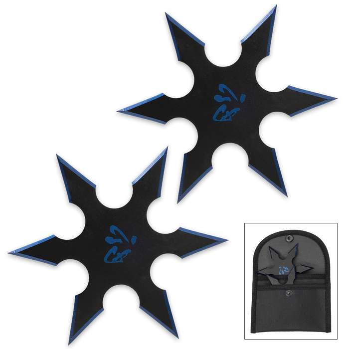 On Target Twin Six-Pointed Throwing Star Set with Nylon Pouch | Kanji Accents | Metallic Blue Edges
