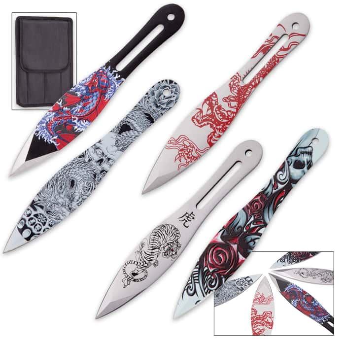On Target AeroZen 5-Piece Throwing Knife Set with Nylon Sheath