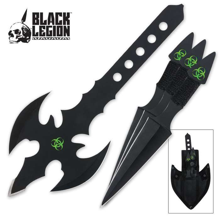 Black Legion Toxic Throwing Axe & Knife Set