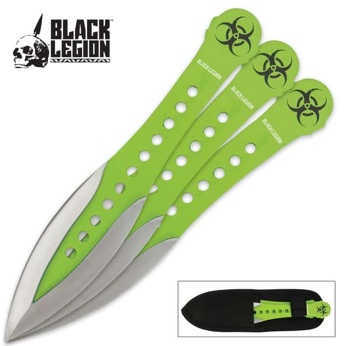 Black Legion Green Velocity Throwing Knife Set
