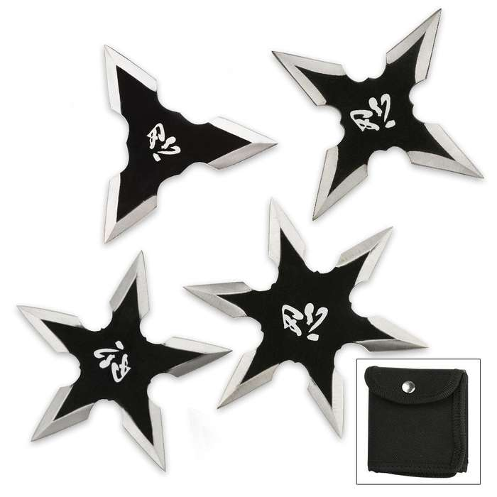 Kung Fu Four-Piece Ninja Throwing Star Set With Pouch