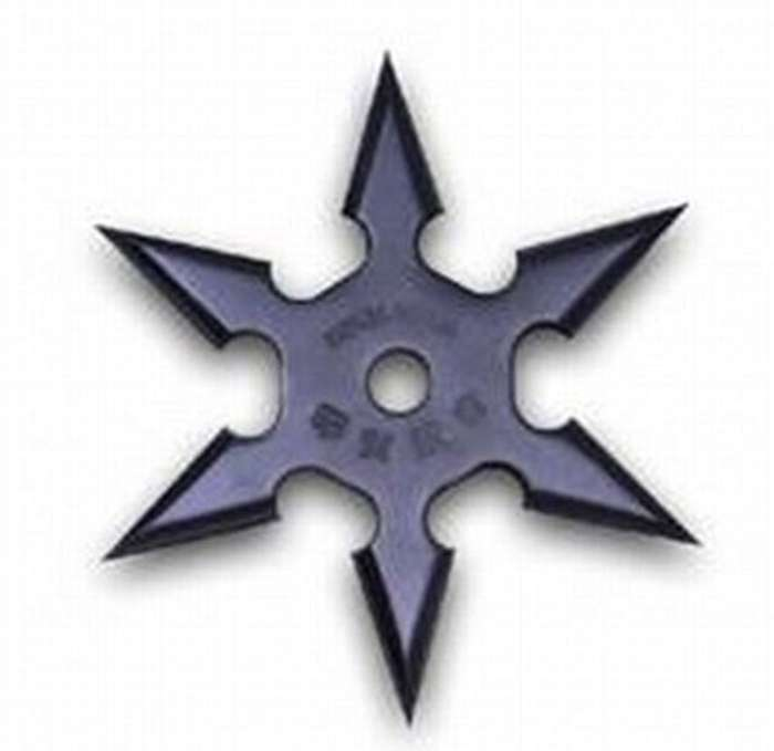 Solid Black Six Point Ninja Style Throwing Star With Pouch