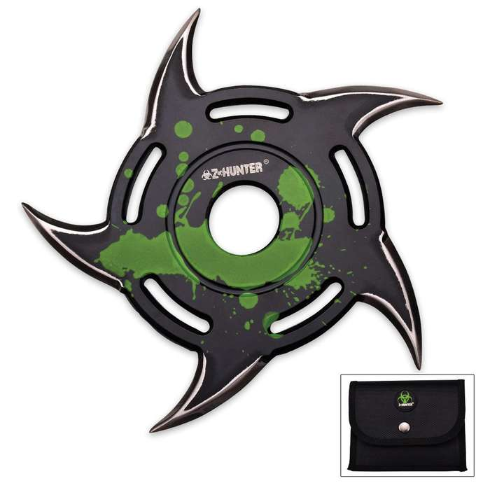 Z-Hunter Five Point Throwing Star Green & Black