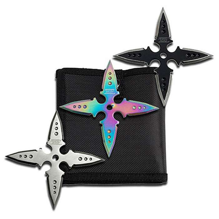 Three Piece Four Point Ninja Throwing Star Collection With Sheath