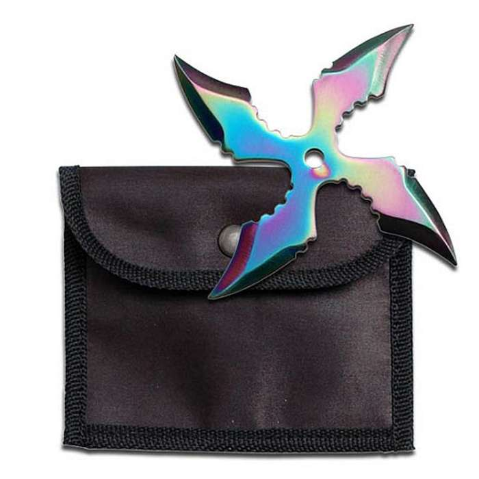 Four Point Rainbow Titanium Whirlwind Throwing Star With Sheath