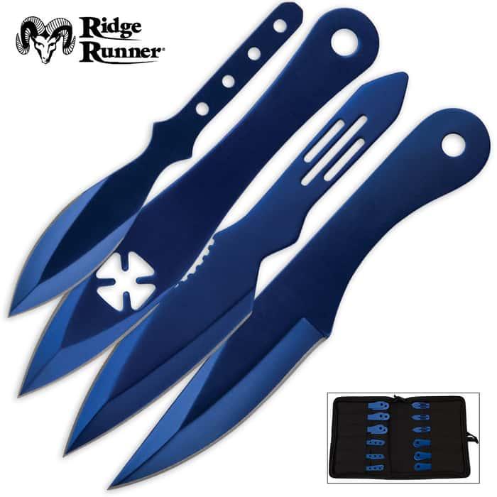 24-Piece Ridge Runner Blue Throwing Knives Set