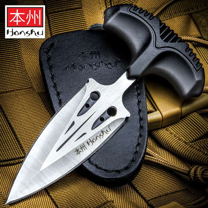 Honshu Large Covert Defense Push Dagger And Sheath - 7Cr13 Stainless Steel Blade, Molded TPR Handle - Length 5 7/8""