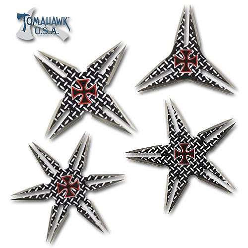 4 Piece Retro Chopper Throwing Stars