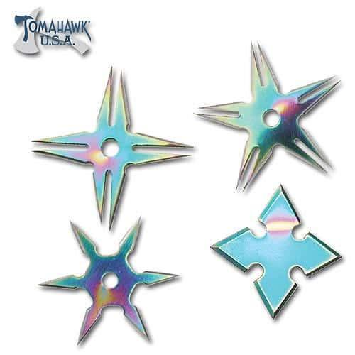4 Piece Rainbow Throwing Star Set