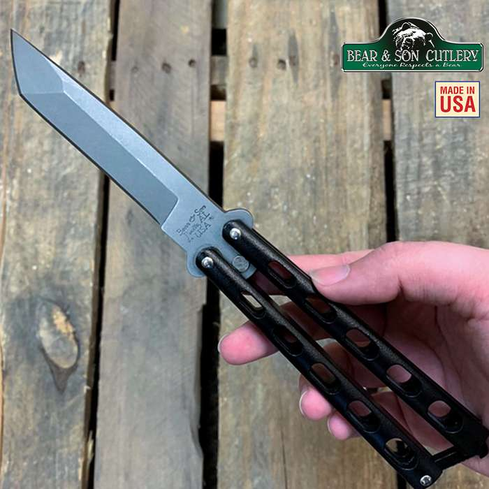 Bear Armor Piercing Black Butterfly Knife