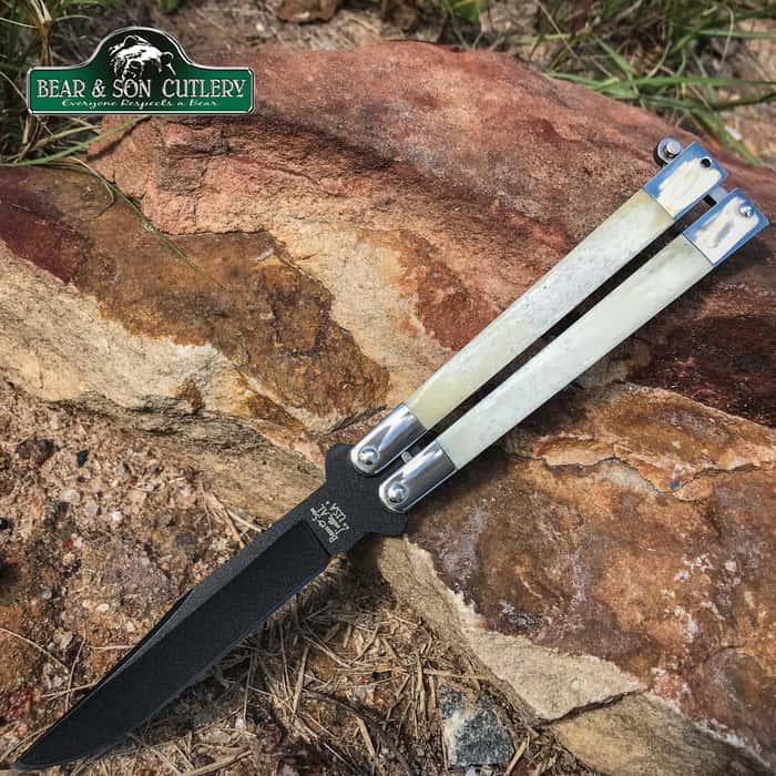 Bear Genuine Bone Handle Butterfly Knife