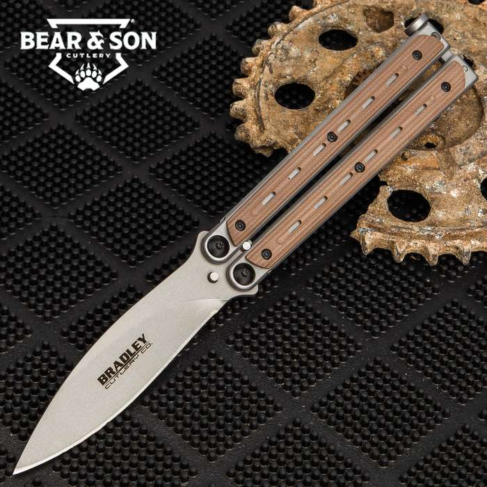 """Kimura Coyote Butterfly Knife - 154CM Steel Blade, Stainless Steel And G10 Handle, American Made - Length 9"""""""