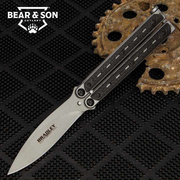 """Kimura Carbon Fiber Butterfly Knife - 154CM Steel Blade, Stainless Steel And Carbon Fiber Handle, American Made - Length 9"""""""