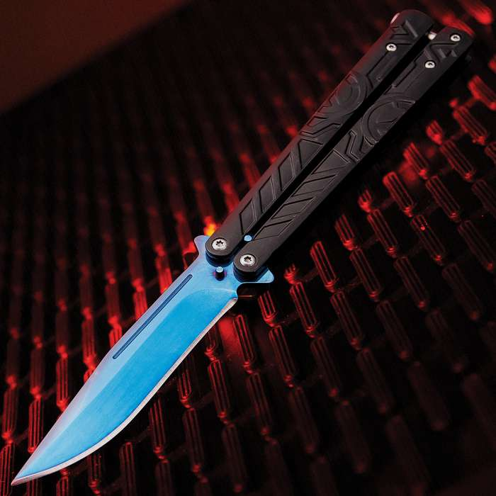 Vortex Balisong Butterfly Knife - Stainless Steel Blade, Blue Finish, Anodized Aluminum Handles, T-Latch - Length 9""