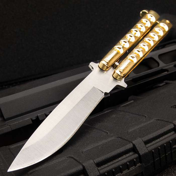 """Gold Gyro Butterfly Knife - Stainless Steel Blade, Skeletonized Handle, Latch Lock, Steel Handle, Double Flippers - Length 9"""""""