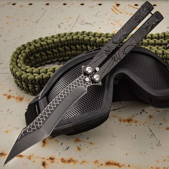 Black Dragon Butterfly Knife - Stainless Steel Blade, Molded Steel Handle, Latch Lock, Double Flippers - Length 9 1/4""