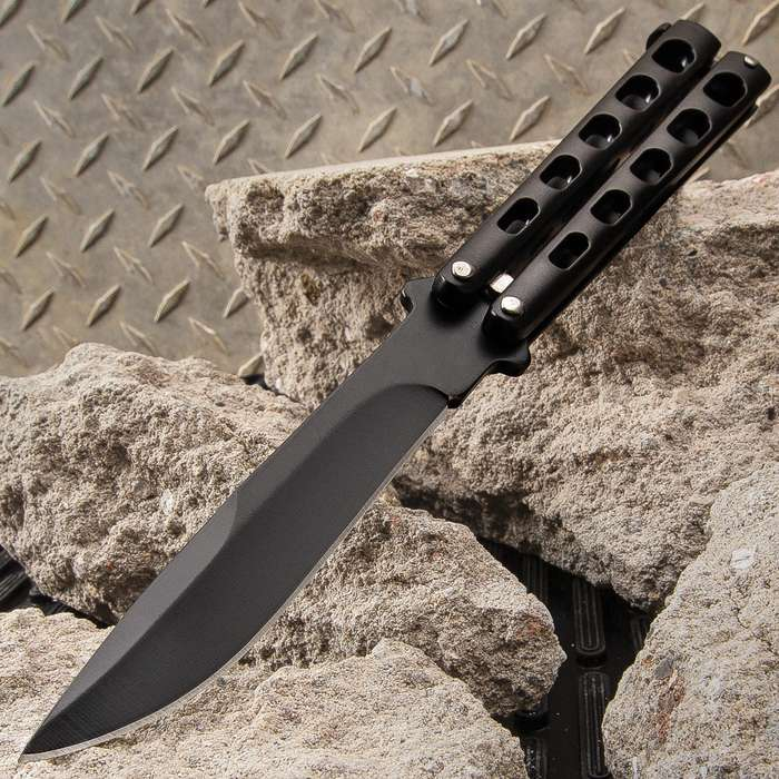 Black Slotted Butterfly Knife - Stainless Steel Blade, Skeletonized Steel, Latch Lock, Steel Handle - Length 9""