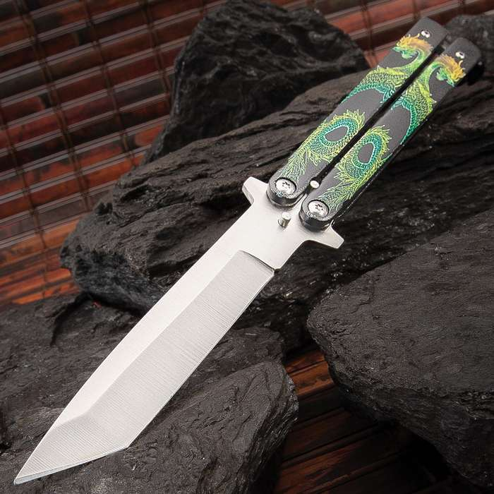 Twin Dragons Green And Yellow Butterfly Knife - Stainless Steel Blade, Solid Handle, Vivid Artwork, Latch Lock - Length 8 3/4""