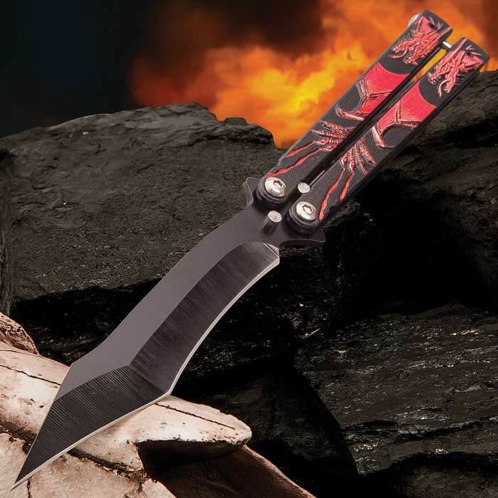 Crimson Dragon Butterfly Knife - Stainless Steel Blade, Black Non-Reflective Finish, Raised Artwork, Latch Lock - Length 9 1/4""