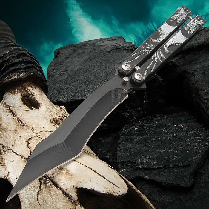 Ghost Dragon Butterfly Knife - Stainless Steel Blade, Black Non-Reflective Finish, Raised Artwork, Latch Lock - Length 9 1/4""