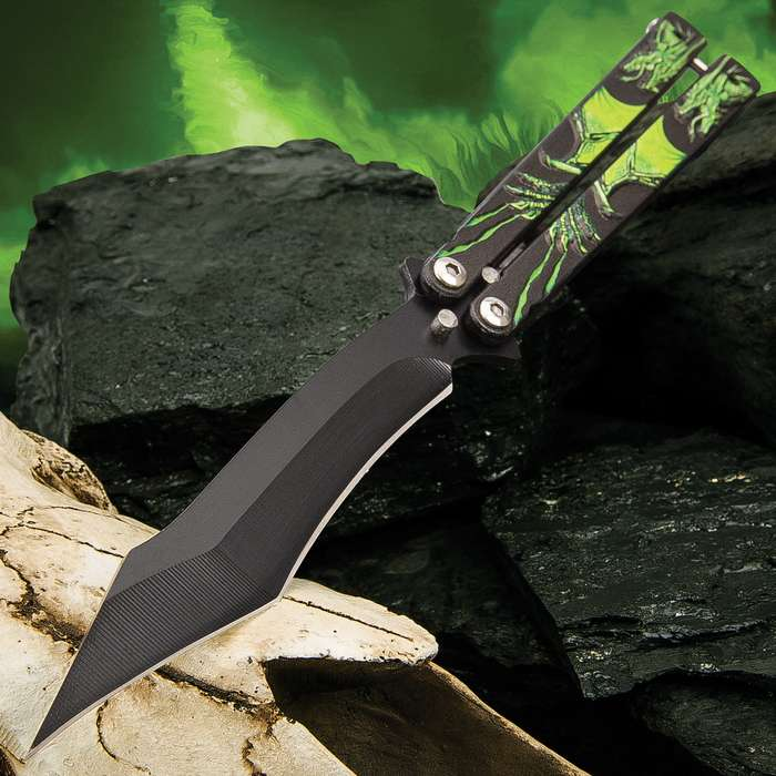 Poison Dragon Butterfly Knife - Stainless Steel Blade, Black Non-Reflective Finish, Raised Artwork, Latch Lock - Length 9 1/4""