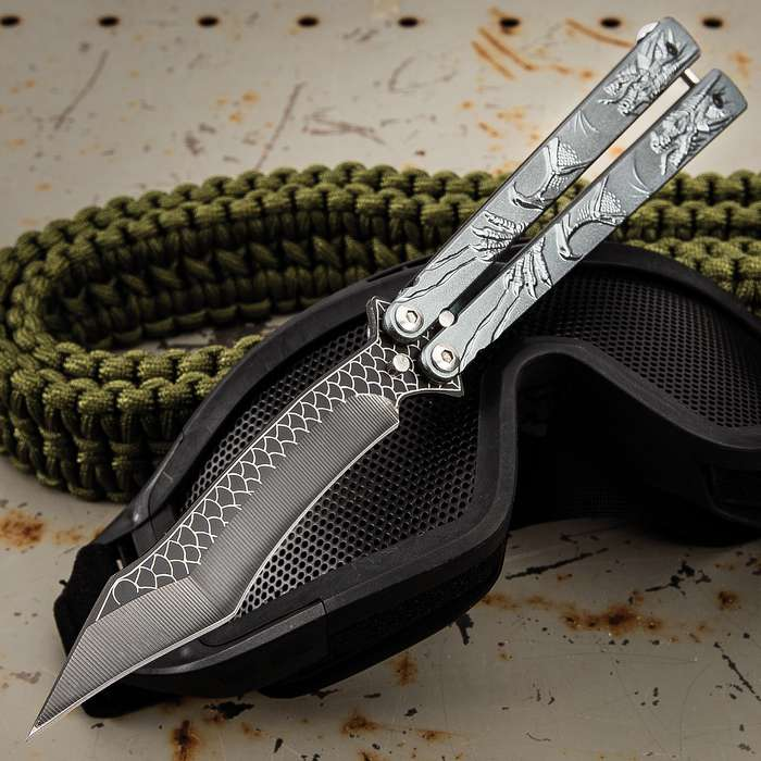 Grey Dragon Butterfly Knife - Stainless Steel Blade, Molded Steel Handle, Latch Lock, Double Flippers - Length 9 1/4""