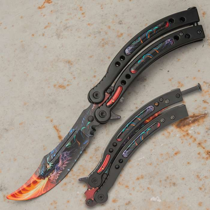 Perfect your flipping moves in style with our Dragonfire Butterfly Knife Trainer or use for martial arts performances