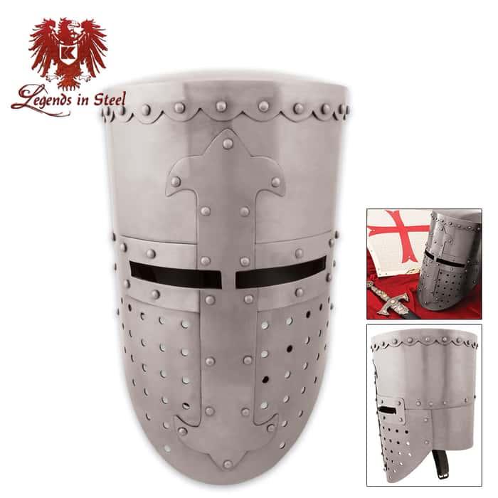 Legends In Steel Crusader Battle Helm 14 Guage Steel