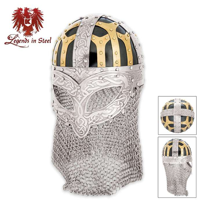 Legends In Steel Imperial Viking Helmet With Chain Mail