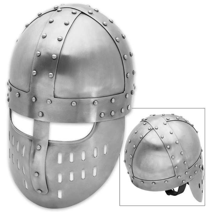 Medieval Knight-in-Armor Spangenhelm with Norman Faceplate Steel Helmet