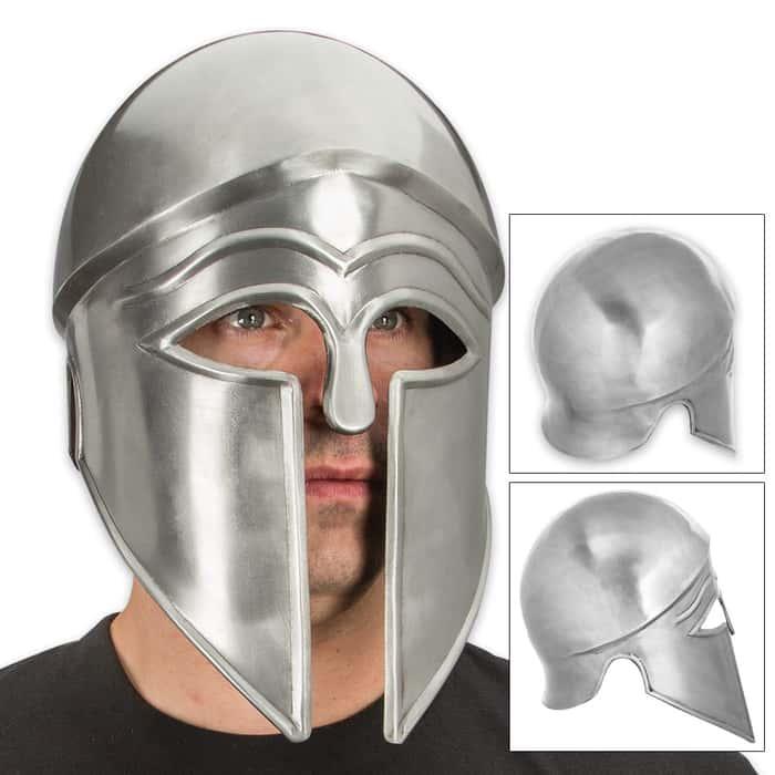 Fifth Century Corinthian 20-Gauge Iron Helmet - Silver