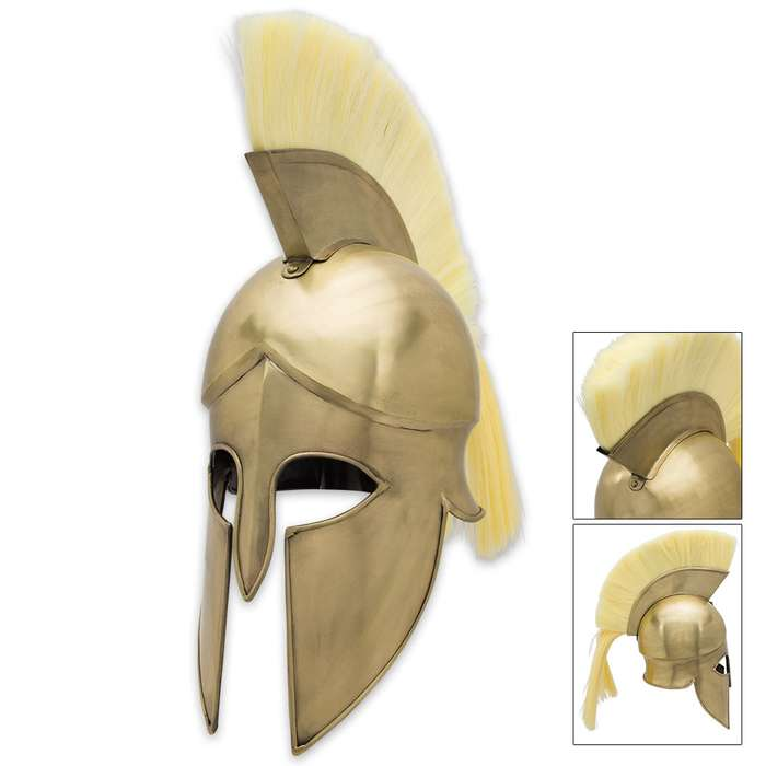 Spartan Grecian Helmet With Plume - Brass Color
