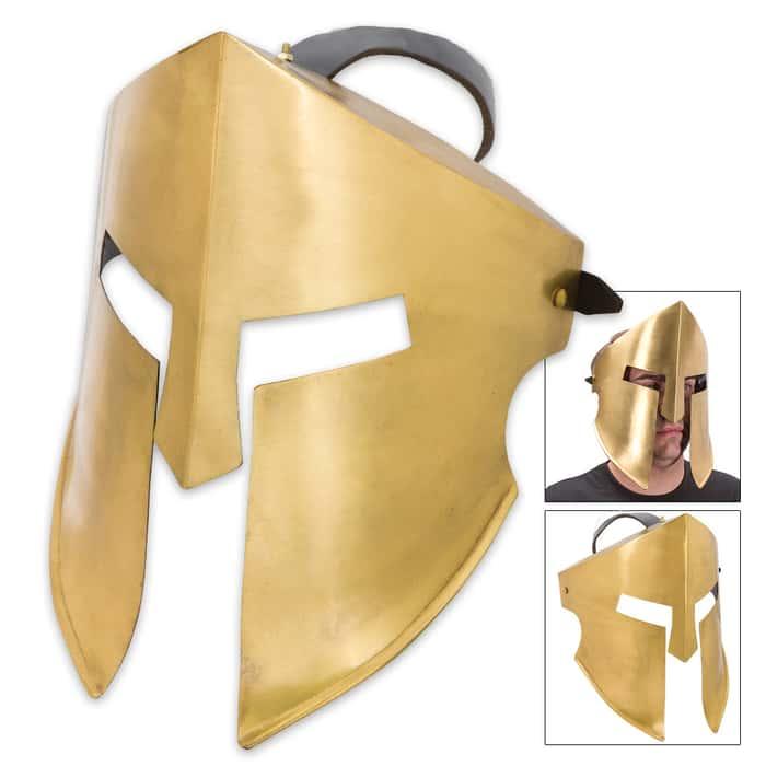 20-Gauge Iron Spartan Battle Mask - Brass