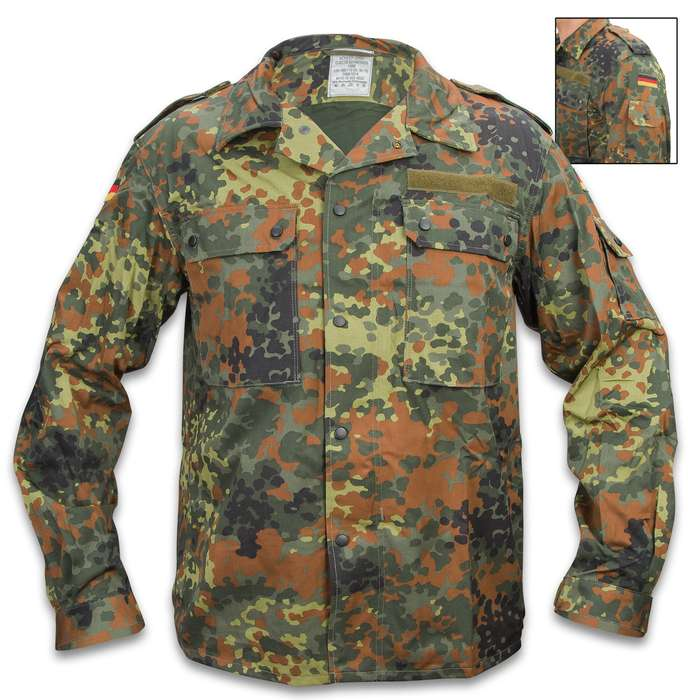 German Military Flectarn Camo Field Shirt - New, Cotton/Polyester Blend, Snap Fasteners, Spacious Pockets - 1XL