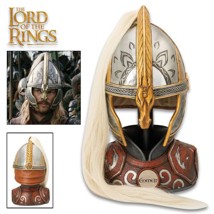 "This reproduction helm is precisely detailed and modeled after the actual filming prop used in ""The Lord of the Rings"" movies"