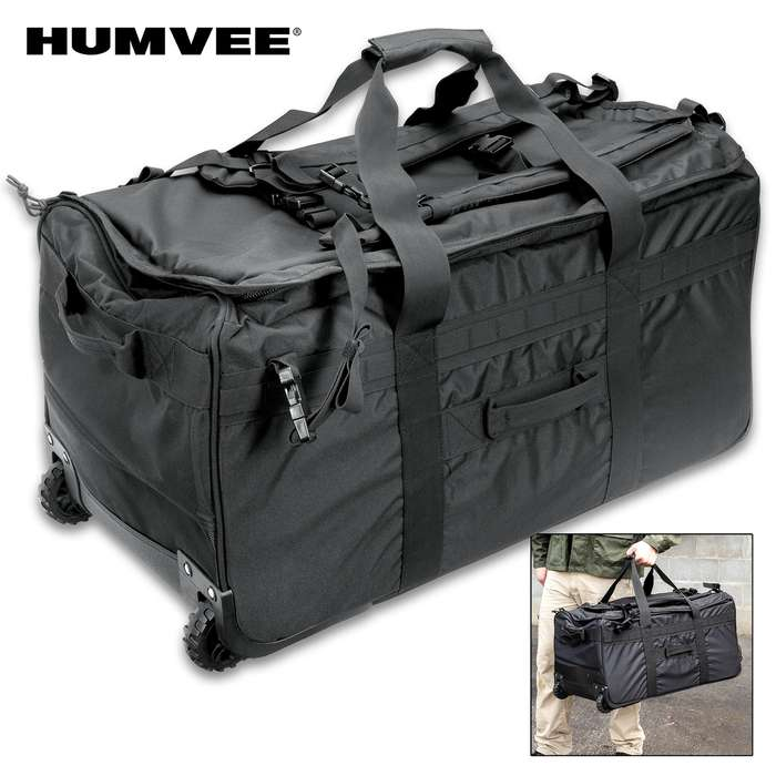 Humvee Deployment Roller Bag - 1,000 Denier Nylon Construction, Water-Resistant, Virtually Indestructible, Shoulder Straps