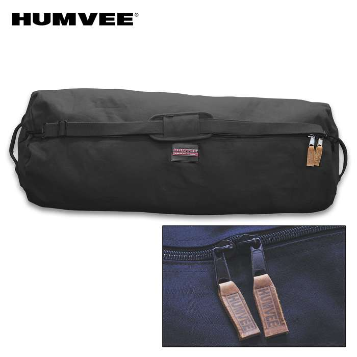 "Humvee Large Zippered Duffel Bag - Cotton Canvas Construction, Two-Way Zipper, Reinforced Handles, Water-Repellent - Dimensions 42""x 25""x 25"""