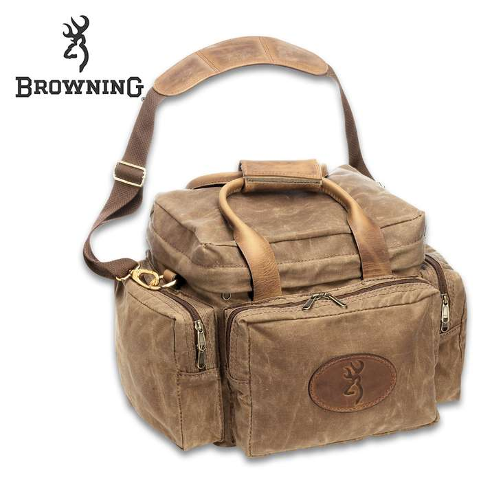 Browning Santa Fe Shooting Bag - Large Zippered Compartments, Waxed Cotton Canvas, Crazy Horse Leather Trim, Brass Hardware, Padded Shoulder Strap And Handles