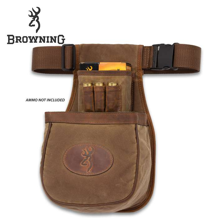 Browning Santa Fe Shell Pouch - Large Double Compartment, Two Mesh Pockets, Waxed Cotton Canvas, Crazy Horse Leather Trim, Adjustable Belt