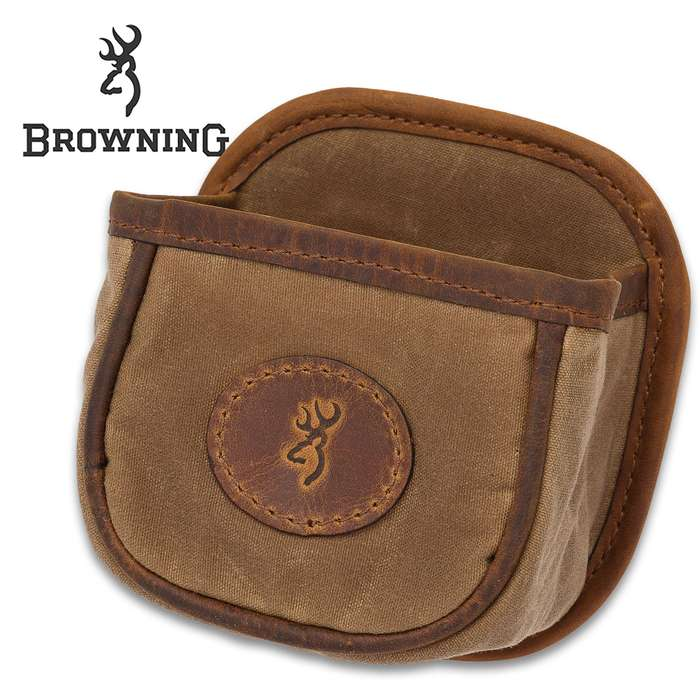 Browning Santa Fe Shell Carrier - Holds One Box, Waxed Cotton Canvas, Crazy Horse Leather Trim, Belt Clip