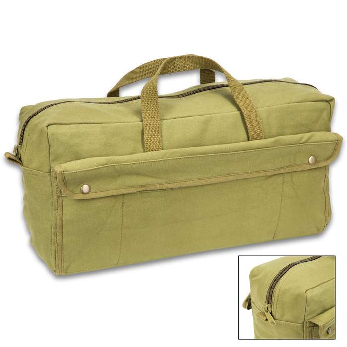 Jumbo Mechanics Tool Bag - Olive Drab, Heavyweight Cotton Canvas Construction, Heavy-Duty Cotton Web Handles
