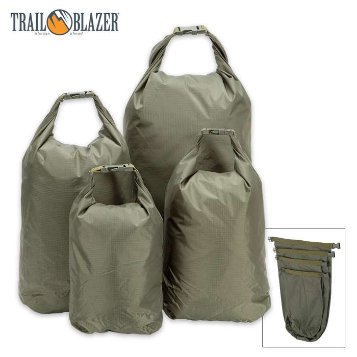 Trailblazer Dry Bags 4-Pack - XL, LG, MED, SM Sizes - Waterproof / Dustproof