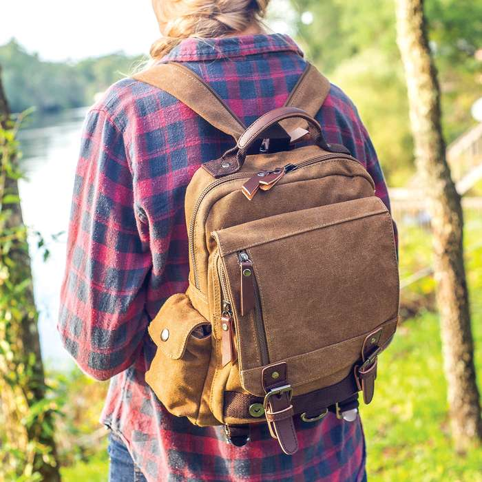 Outback Traveler Sling Pack - Canvas Construction, Soft Lining, Spacious Interior, Leather Accents, Multiple Pockets, Metal Hardware