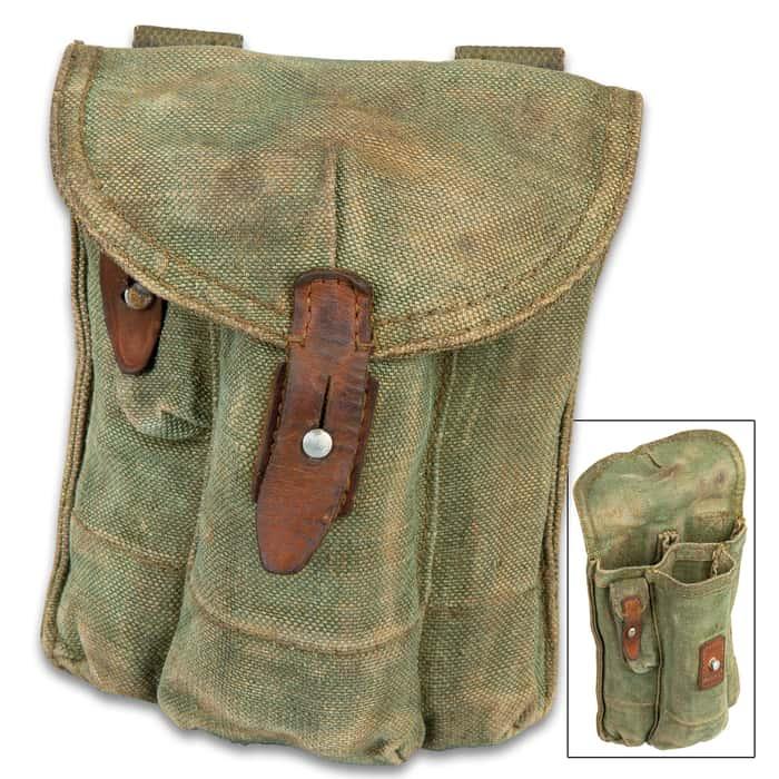 "Three Pocket AK Rifle Magazine Pouch - Used, Military Surplus, Tough Canvas Construction, Nylon Webbing Belt Loops - Dimensions 9 1/4""x 7 1/4"""