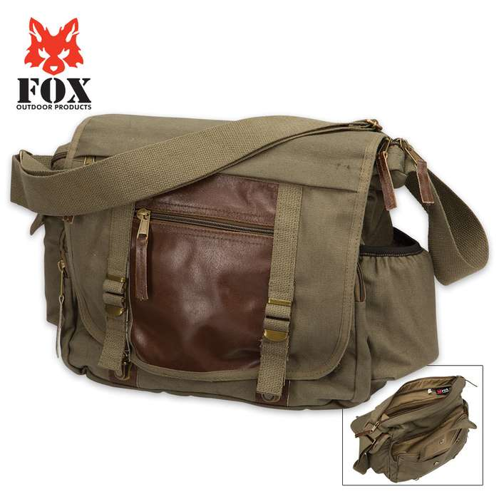 Military-Grade Deluxe Concealed-Carry Messenger Bag - Fox Outdoor Products - Vintage Olive Drab