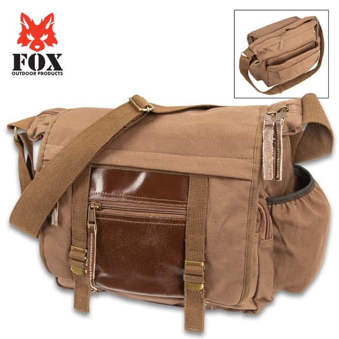 "Fox Concealed Carry Messenger Bag - Cotton Canvas Construction, Leather Trim, Multiple Pockets, Adjustable Shoulder Strap - 7""x 12""x 16"""