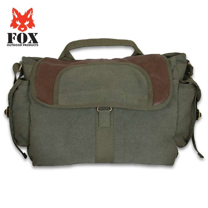 Fox Retro Bavarian Alps Messenger Bag - Washed Canvas, Leather Trim, Sturdy Zippers, Adjustable Shoulder Strap