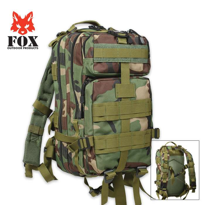 Fox Medium Transport Backpack Woodland Camo