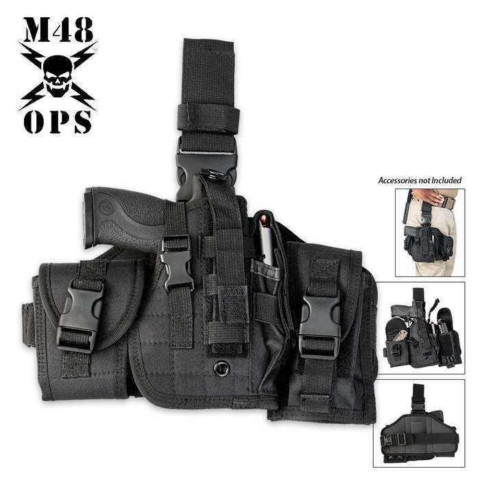 M48 OPS Assembled Drop Leg Gun Holster - Black